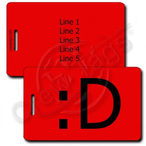 BIG GRIN EMOTICON PERSONALIZED LUGGAGE TAGS :D RED