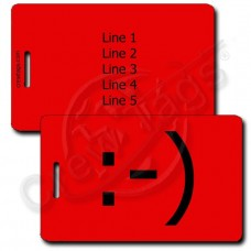 CLASSIC SMILEY PERSONALIZED  EMOTICON LUGGAGE TAG :-) RED
