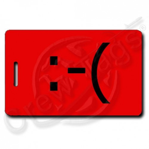 RED EMOTICON FROWN LUGGAGE TAG