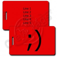 WINK EMOTICON LUGGAGE TAG ;) RED