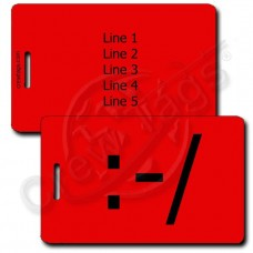 PERSONALIZED WRY EMOTICON LUGGAGE TAG :-/  RED