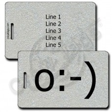 PERSONALIZED ANGEL EMOTICON LUGGAGE TAGS o:-) SILVER