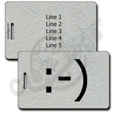 CLASSIC SMILEY EMOTICON LUGGAGE TAG :-) SILVER