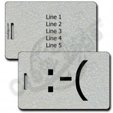 FROWN EMOTICON LUGGAGE TAG :-( SILVER