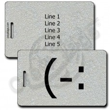 LEFT HANDED SMILE EMOTICON LUGGAGE TAG (-: SILVER
