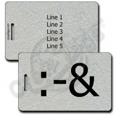 PERSONALIZED PUKE EMOTICON LUGGAGE TAG :-& SILVER