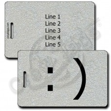 SMILEY EMOTICON LUGGAGE TAG :) SILVER