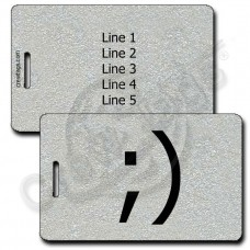 WINK EMOTICON LUGGAGE TAG ;) SILVER