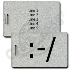 PERSONALIZED WRY EMOTICON LUGGAGE TAG :-/  SILVER
