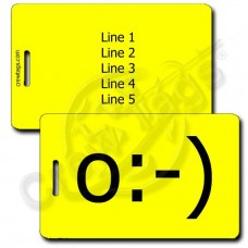 ANGEL EMOTICON PERSONALIZED LUGGAGE TAGS  o:-) YELLOW