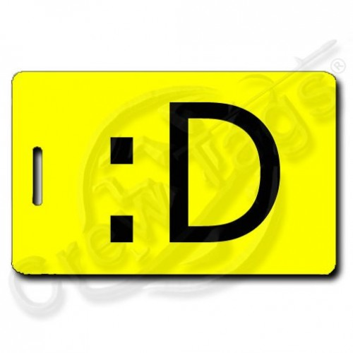 PERSONALIZED BIG GRIN EMOTICON LUGGAGE TAGS :D YELLOW