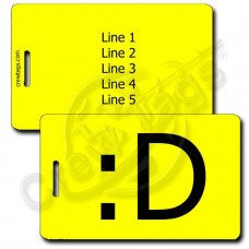 BIG GRIN EMOTICON PERSONALIZED LUGGAGE TAGS :D YELLOW