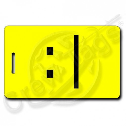 BORED EMOTICON PERSONALIZED LUGGAGE TAG :| YELLOW