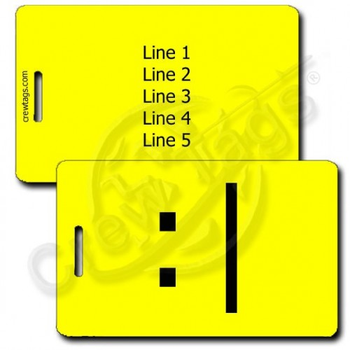 PERSONALIZED BORED EMOTICON LUGGAGE TAG :| YELLOW