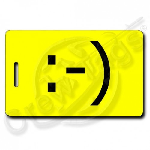 CLASSIC SMILEY PERSONALIZED EMOTICON LUGGAGE TAG :-) YELLOW