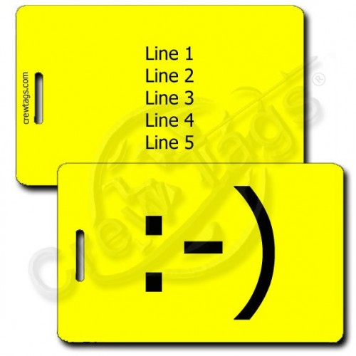 PERSONALIZED CLASSIC SMILEY EMOTICON LUGGAGE TAG :-) YELLOW