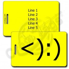 COWBOY EMOTICON LUGGAGE TAG <):) YELLOW
