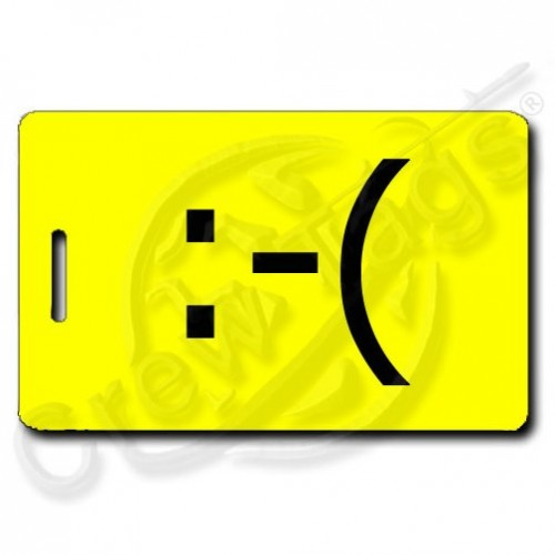 FROWN EMOTICON PERSONALIZED LUGGAGE TAG  :-( YELLOW