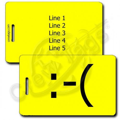 PERSONALIZED FROWN EMOTICON LUGGAGE TAG  :-( YELLOW