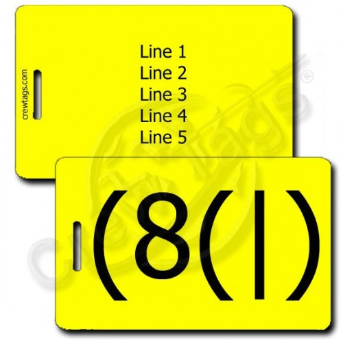 PERSONALIZED HOMER EMOTICON LUGGAGE TAG (8(|) YELLOW