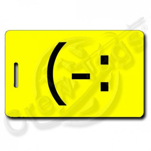 LEFT HANDED SMILE EMOTICON PERSONALIZED LUGGAGE TAG (-: YELLOW