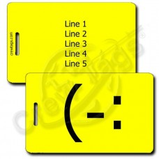 LEFT HANDED SMILE EMOTICON LUGGAGE TAG (-: YELLOW