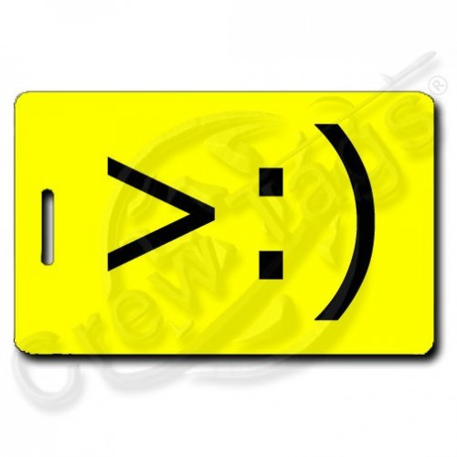 LITTLE DEVIL EMOTICON PERSONALIZED LUGGAGE TAG >:) YELLOW