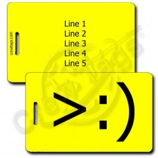 PERSONALIZED LITTLE DEVIL EMOTICON LUGGAGE TAG >:) YELLOW
