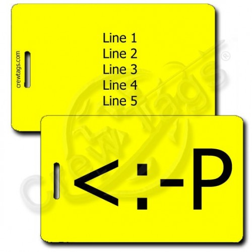 PERSNALIZED PARTY EMOTICON LUGGAGE TAG <:-P YELLOW