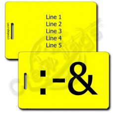 PERSONALIZED PUKE EMOTICON LUGGAGE TAG :-& YELLOW