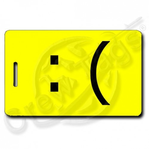 SAD EMOTICON PERSONALIZED  LUGGAGE TAG :( YELLOW