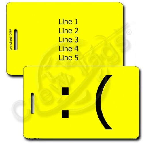 PERSONALIZED SAD EMOTICON LUGGAGE TAG :( YELLOW