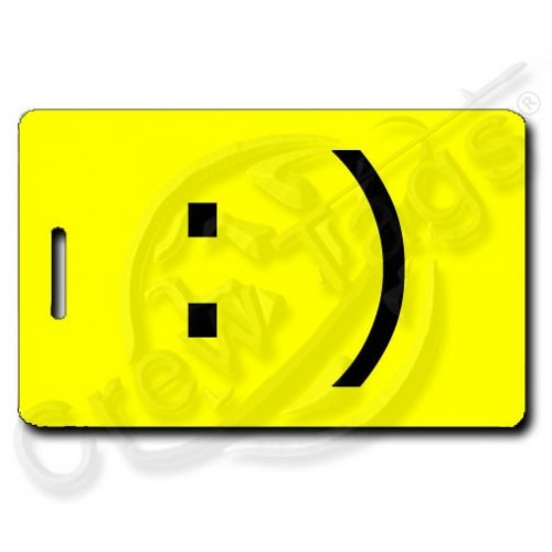 SMILEY EMOTICON PERSONALIZED LUGGAGE TAG :) YELLOW