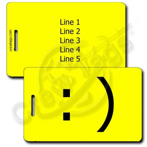 PERSONALIZED SMILEY EMOTICON LUGGAGE TAG :) YELLOW