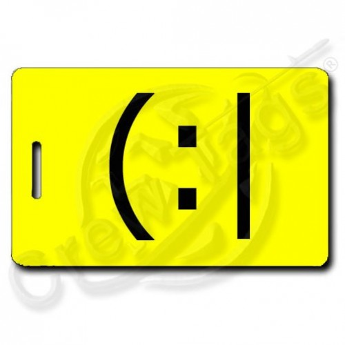 TIRED EMOTICON PERSONALIZED LUGGAGE TAG (:| YELLOW