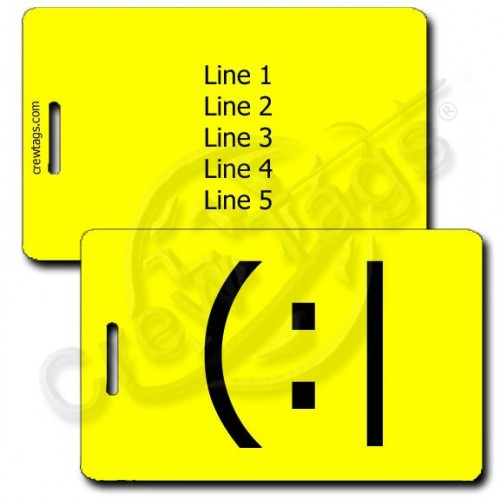PERSONALIZED TIRED EMOTICON LUGGAGE TAG (:| YELLOW