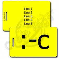 PERSONALIZED VERY UNHAPPY EMOTICON LUGGAGE TAG :-c YELLOW