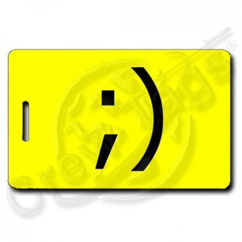WINK EMOTICON PERSONALIZED LUGGAGE TAG ;) YELLOW