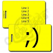 PERSONALIZED WINK EMOTICON LUGGAGE TAG ;) YELLOW