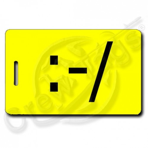 WRY EMOTICON PERSONALIZED LUGGAGE TAG :-/  YELLOW