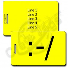 PERSONALIZED WRY EMOTICON LUGGAGE TAG :-/  YELLOW