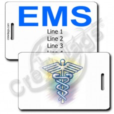 CADUCEUS WITH CUSTOM BLUE TEXT BACK LUGGAGE TAGS