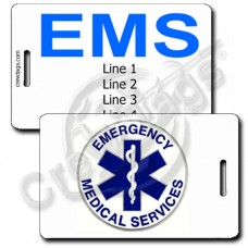 EMS LOGO WITH CUSTOM BLUE TEXT LUGGAGE TAGS