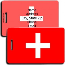 PERSONALIZED SWITZERLAND FLAG LUGGAGE TAG