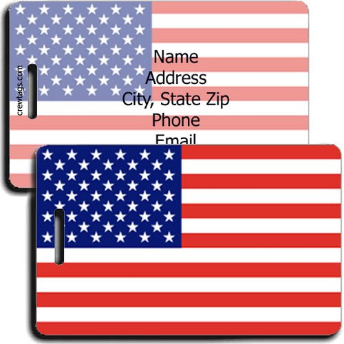 PERSONALIZED UNITED STATES OF AMERICA FLAG LUGGAGE TAGS