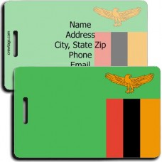 PERSONALIZED ZAMBIA FLAG LUGGAGE TAGS