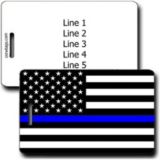 THIN BLUE LINE FLAG LUGGAGE TAG