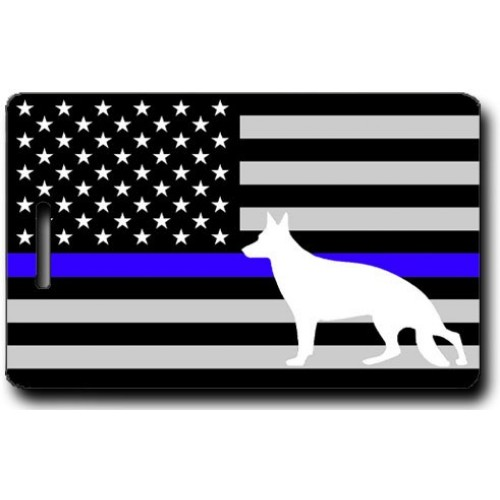 K9 BLUE LINE FLAG PERSONALIZED LUGGAGE TAGS