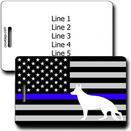 K9 THIN BLUE LINE FLAG LUGGAGE TAG