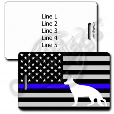 K-9 THIN BLUE LINE FLAG LUGGAGE TAG